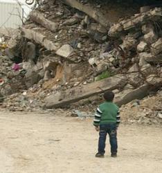 sole boy in war zone